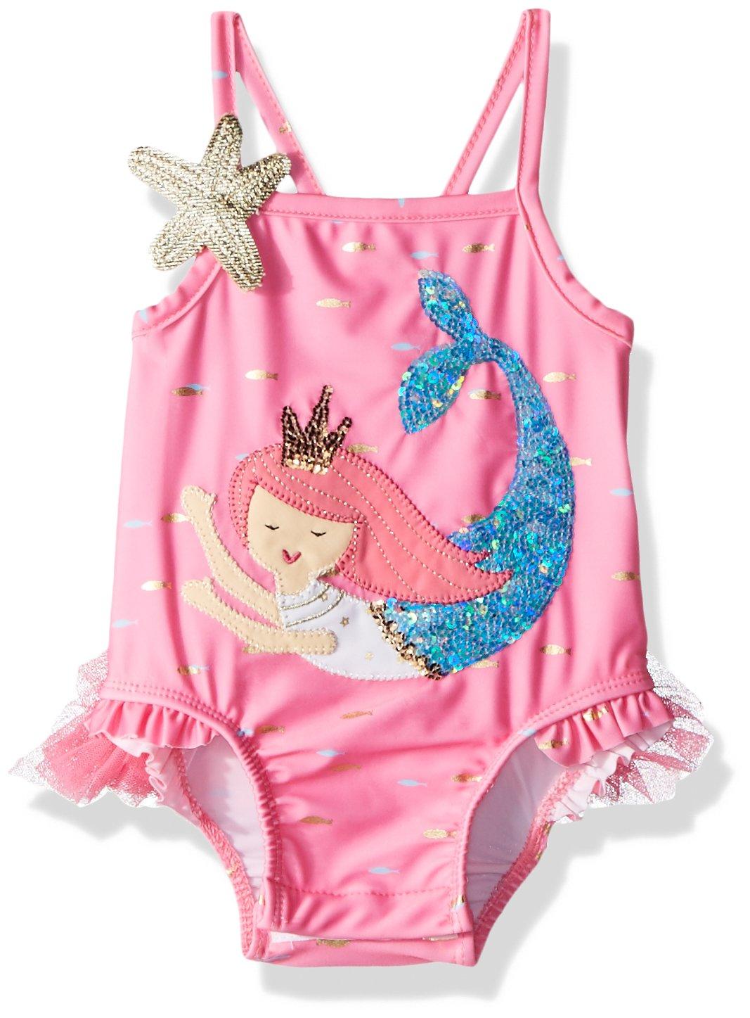Mud Pie Girls' Baby Mermaid Ruffle One Piece Swimsuit, Pink, 2T by Mud Pie