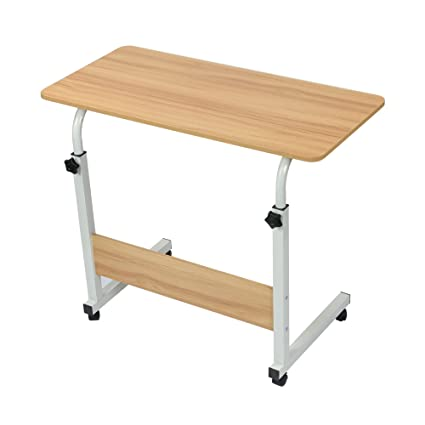 Cubix Mobile Bedside Table Rolling Laptop Stand Height Adjustable Computer Table Study Desk With 4 Wheels For Bed Sofa Hospital Reading Eating