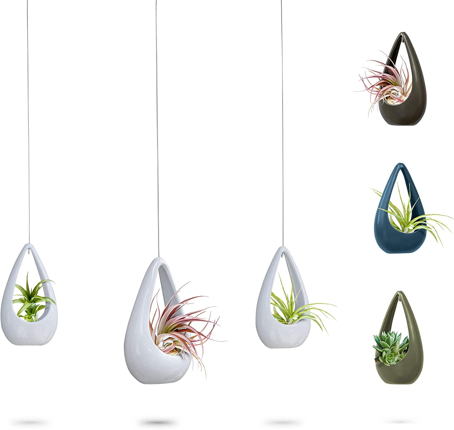 23 Bees Hanging Air Plant Holder White Hanger Ceramic Planter Small Floating Succulent Pots Container Cactus Holders with Metal Wire 3 Pack