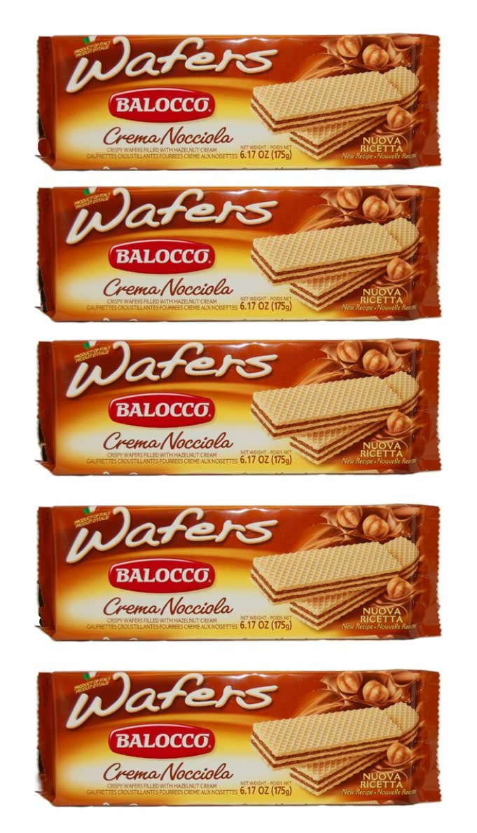 Balocco Wafers, -Crispy- Filled with Hazelnut Cream Crema Nocciola - 6 Pack All Natural