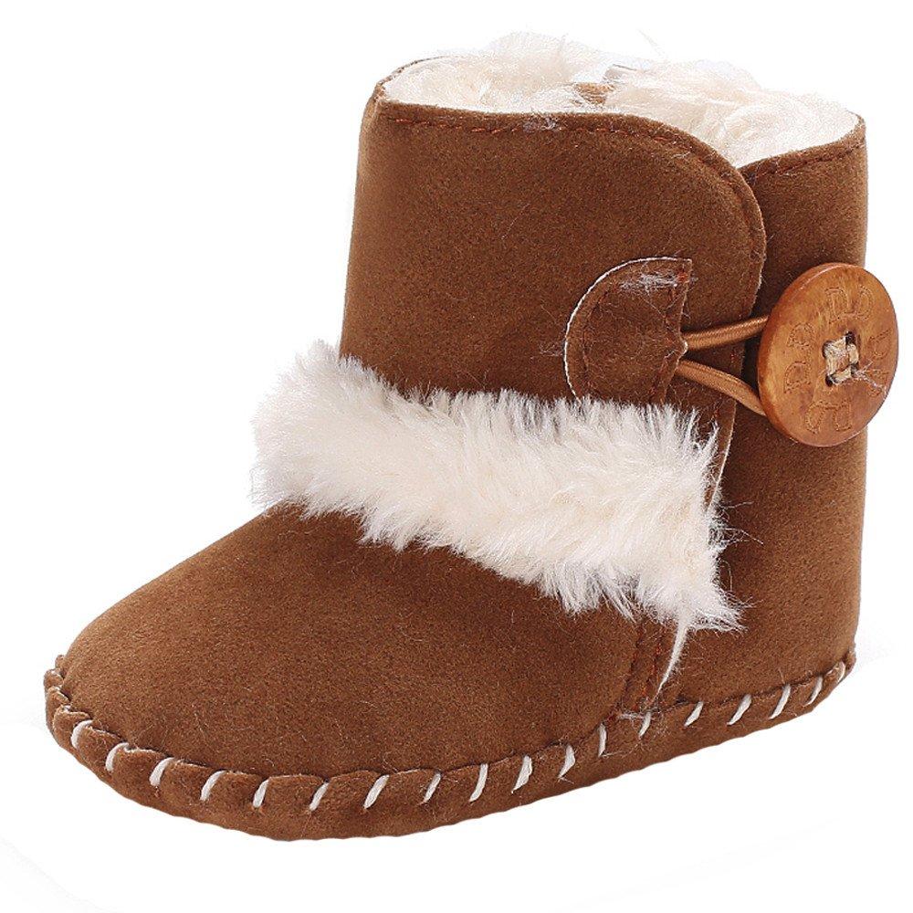 Robemon Bottes Enfant Bouton inférieur épaissi Unisex Soft Sole Snow Boots Soft with Velvet Shoelace Crib Shoes 0-18Mois