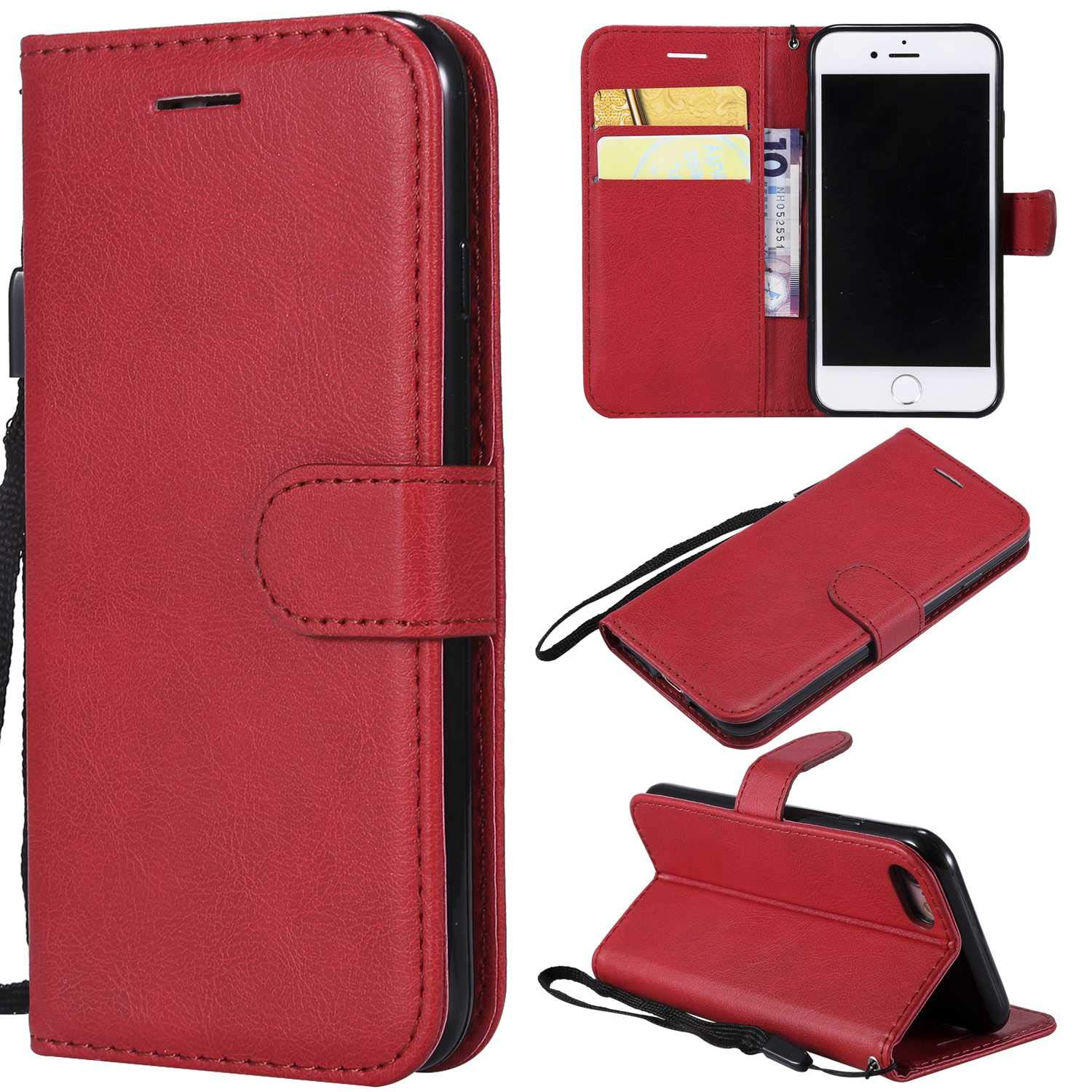 iPhone 7/8 Case, The Grafu Shockproof Leather Wallet Flip Case with [Card Slots] [Wrist Strap] Stand Function Cover for Apple iPhone 7 / iPhone 8, Red by The Grafu (Image #7)