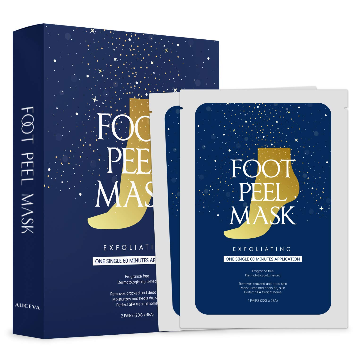 2 Pairs of Foot Peel Mask for Cracked Heels Dead Skin and