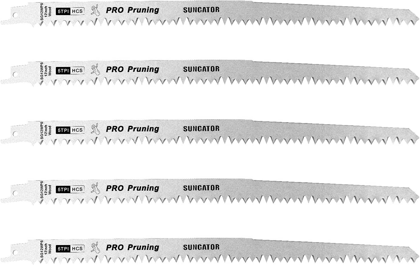 Reciprocating/Sawzall Saw Blade, SUNGATOR 12-Inch Wood Pruning Sawzall Blades, Super Hard HCS Material with 5TPI Improve the Cutting Efficiency (5-Pack)