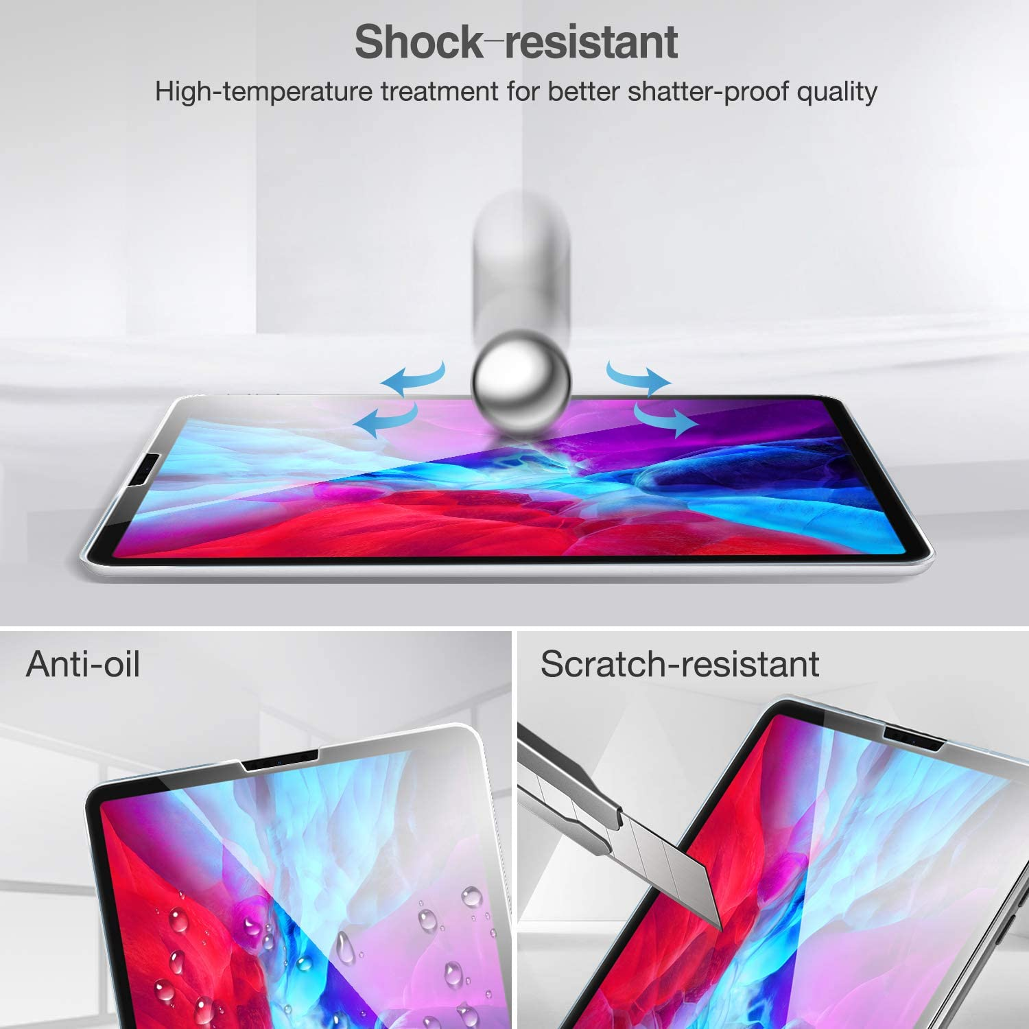 ProCase for iPad Pro 12.9 2020 2018 Screen Protector Tempered Glass Screen Film Guard 4th // 3rd Generation for iPad Pro 12.9 -Clear