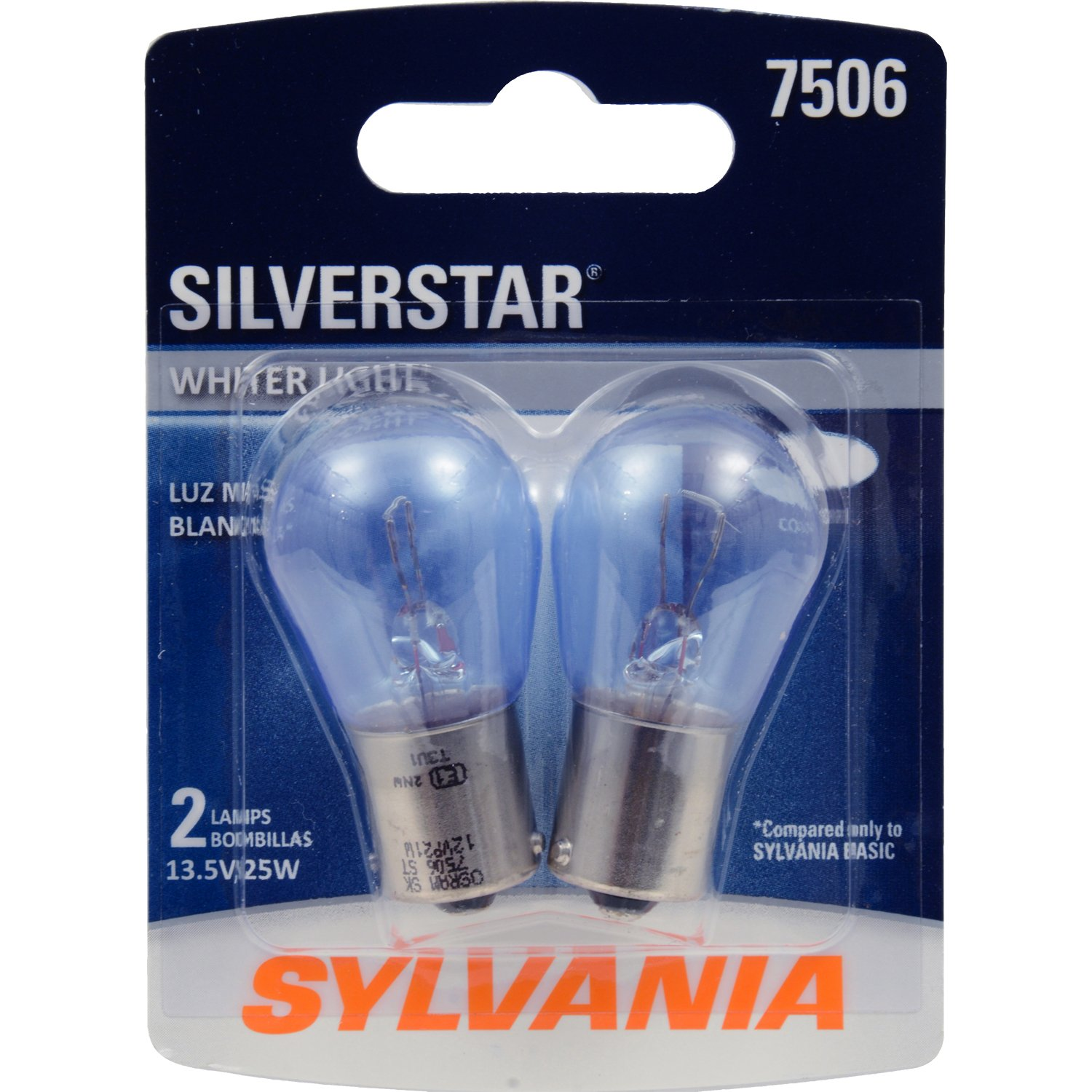 SYLVANIA - 7506 SilverStar Mini Bulb - Brighter and Whiter Light, Ideal for Daytime Running Lights (DRL) and Back-Up/Reverse Lights (Contains 2 Bulbs)