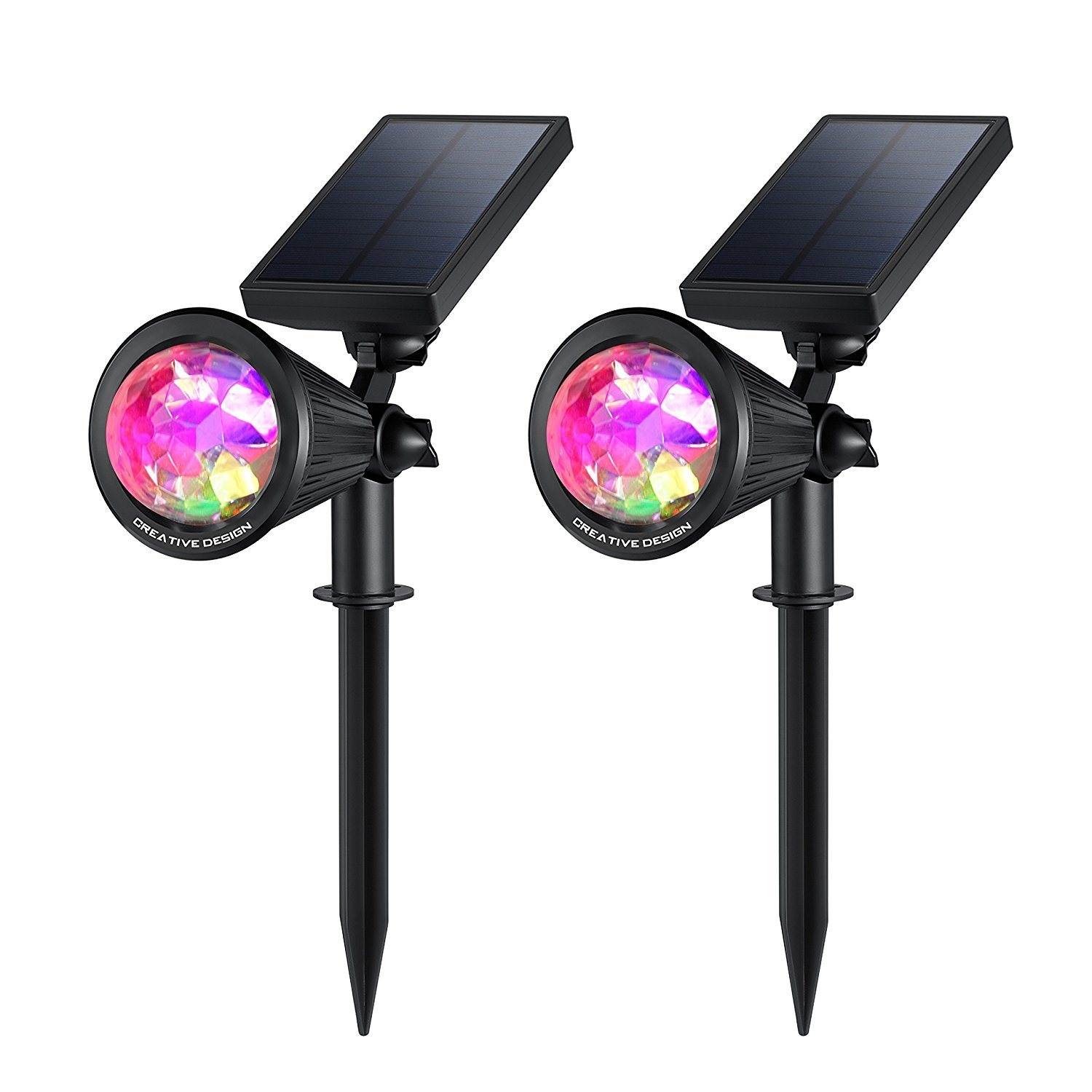 CREATIVE DESIGN Solar Lights Outdoor Colored Solar Spotlight Outdoor, Waterproof Wall Lights Solar Lights with Auto On/Off for Garden, Christmas, Holiday Decoration(2 Pack)