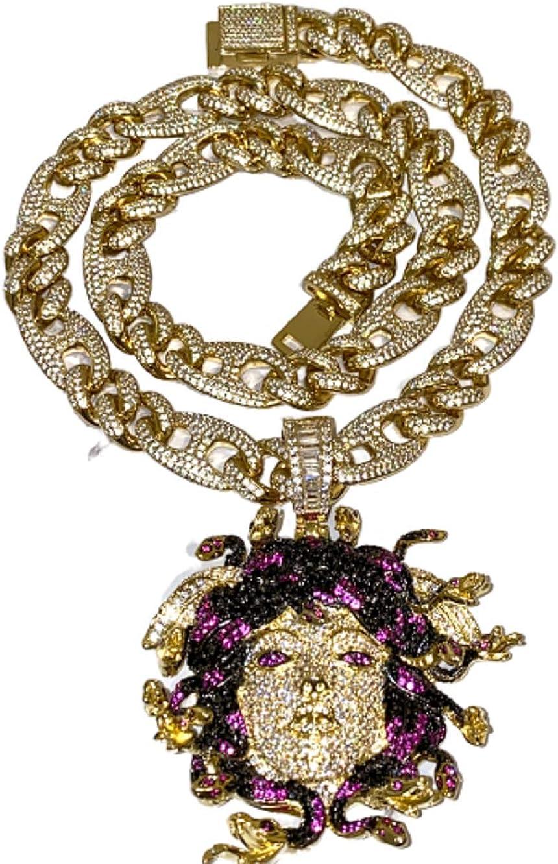 Mens Genuine Italy 14K Filled Gold Medusa Chain and Pendant Set Warranty