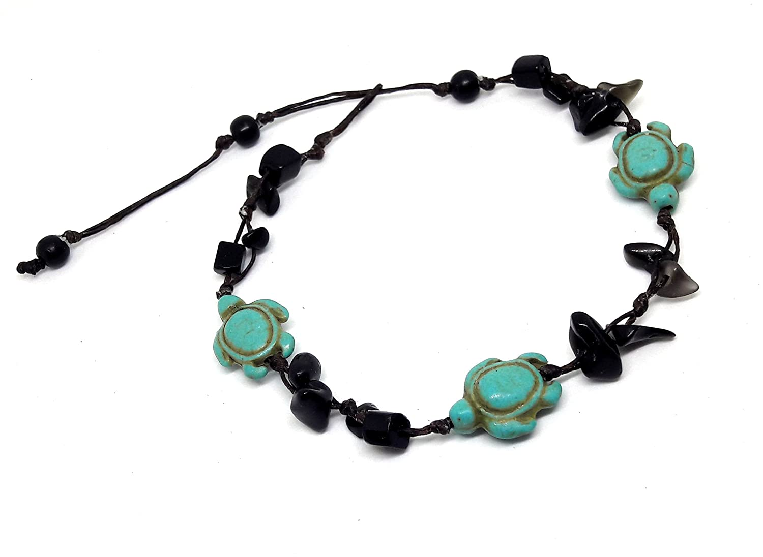 Turtle Blue Turquoise Black Onyx Color Bead Anklet or Bracelet Beautiful 26 cm.Handmade for Women Teens and Girls