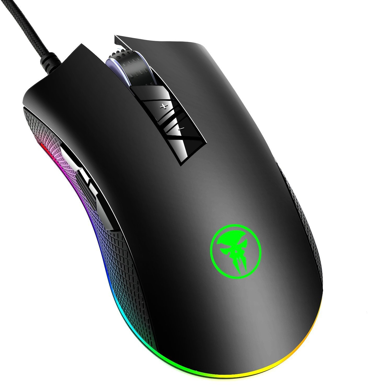 YockTec RGB Tunable Gaming Mouse,Programmable 7-button design with scroll wheel Gaming Mouse - 4000 DPI Sensor -Comfortable Grip -The eSports Gaming Mouse,Black (Black)