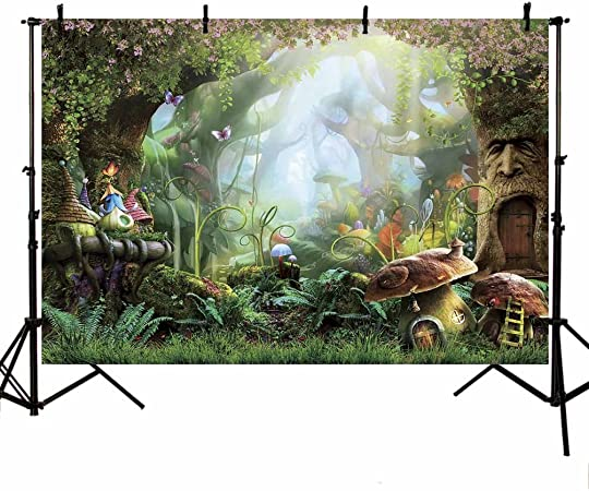 Zhy Misty Forest Wonderland Fairy Tale Background 5X7FT Vinyl Photography Photo Background Studio Props for Birthday Party Banner Decoration