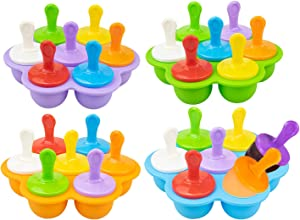 Bekith 4 Pack Silicone Popsicle Mold, 28-cavity Non-Stick Ice Pop Makers with Plastic Sticks for Egg Bites, Lollipop and Ice Cream Mould, Baby Food Storage Container, Frozen Pop Trays