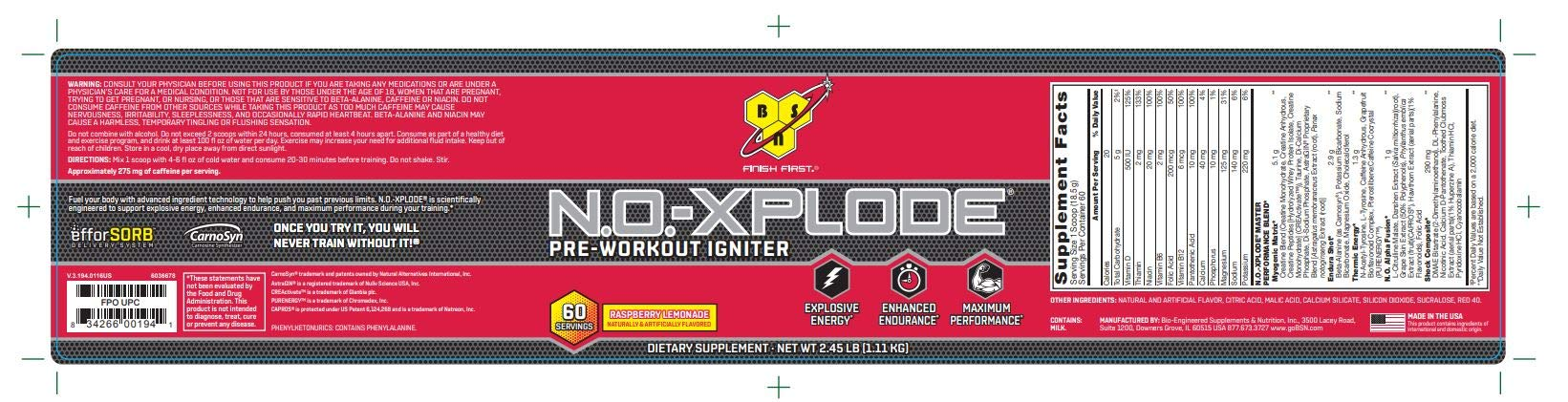 BSN N.O.-XPLODE Pre-Workout Supplement with Creatine, Beta-Alanine, and Energy, Flavor: Raspberry Lemonade, 60 Servings. Explosive Energy Pre-Workout Igniter by B S N No xplode