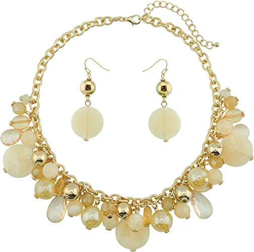 N0002Beige COIRIS Womens Beaded Strand Statement Necklace Beads Collar