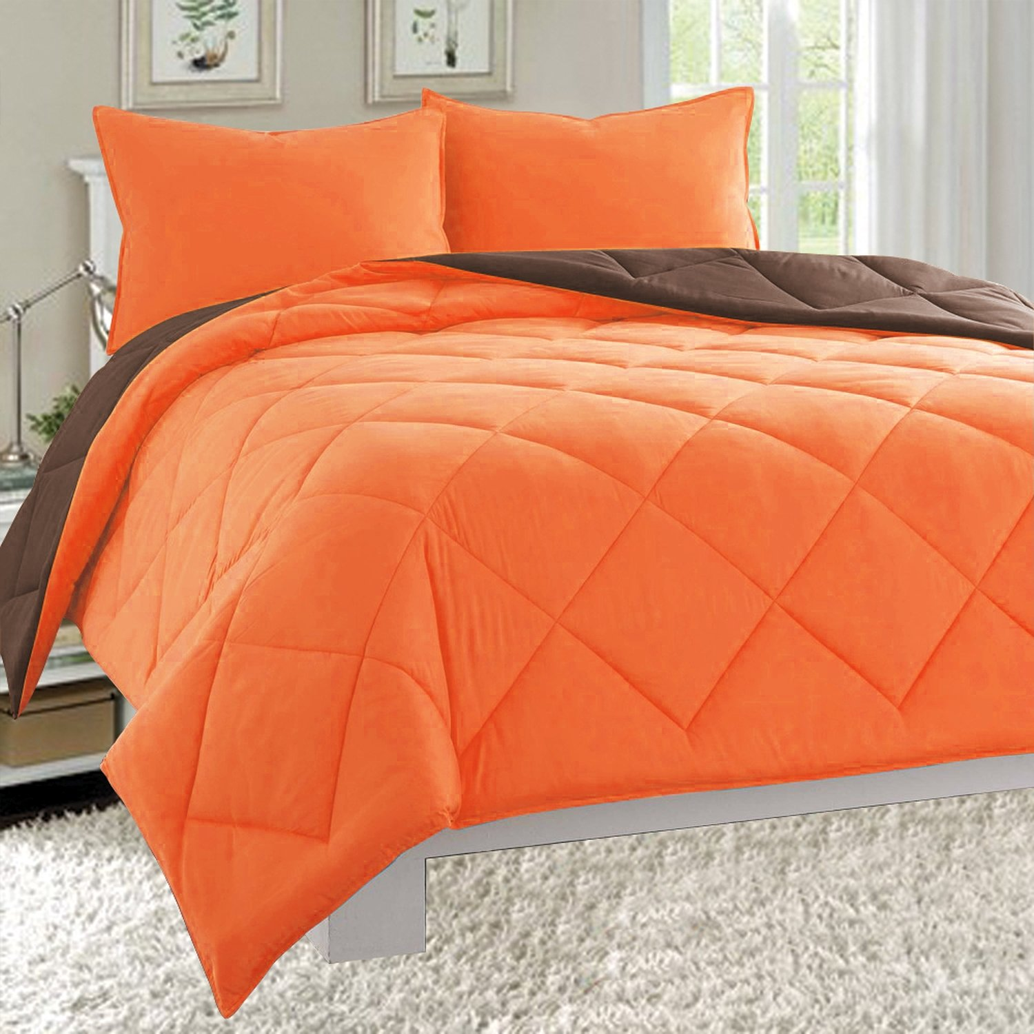 3-Piece Comforter Set, King, Orange/Chocolate