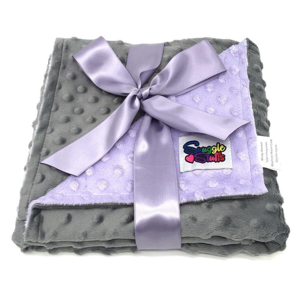 Reversible Unisex Children's Soft Baby Blanket Minky Dot (Lavender/Grey)
