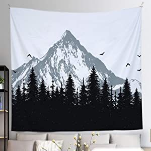 Fir Forest Mountain Wall-Hanging Tapestry - Black and White Nature Decor Tapestry For Bedroom Living Room Doorway Dorm(60