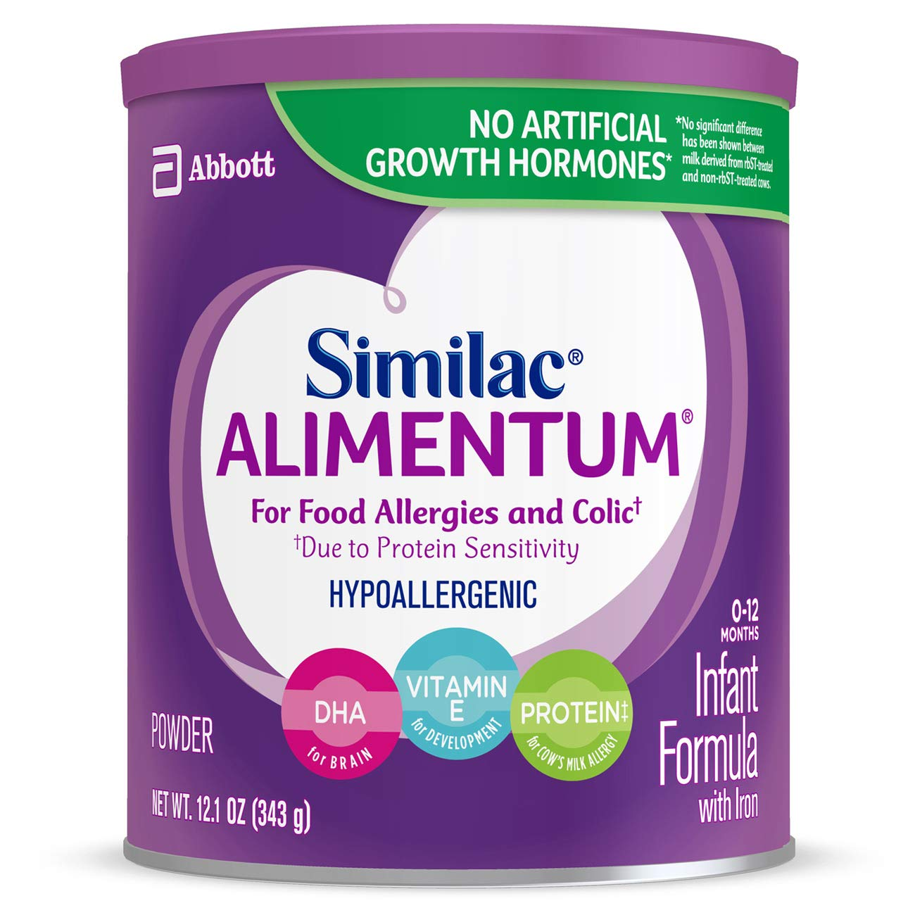 Similac Alimentum Hypoallergenic Infant Formula for Food Allergies and Colic, Baby Formula, Powder, 12.1 ounces (Pack of 6)