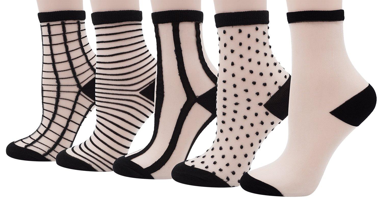 Bienvenu Girl's Black Grid Fishnet Socks Thin Summer Ankle High Tights Hosiery Socks, 5 Pairs,Black Grid Set