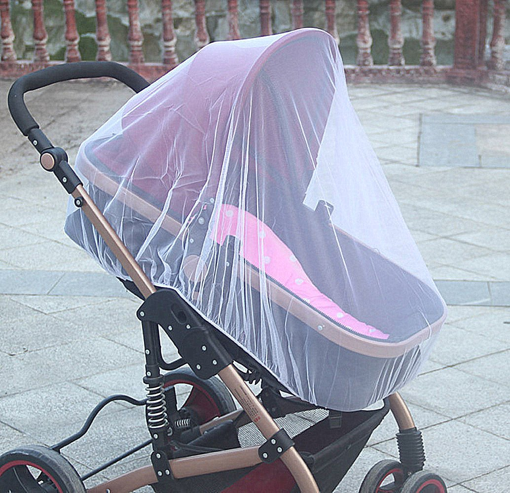 Decorative Baby Mosquito Net Bug Net for Strollers & Infant Carriers - Soft & Clean - 59x 47 - Decoration Stickers Attached Wellco Industries Inc.