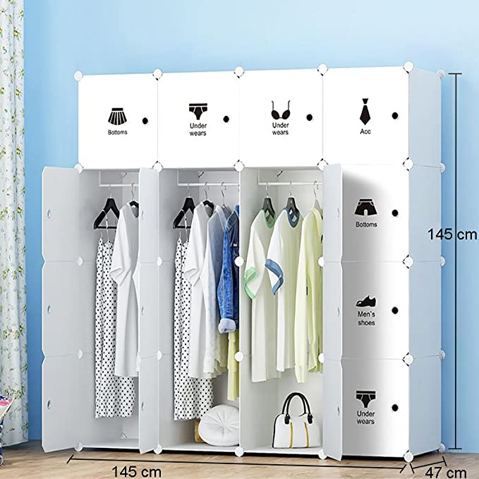 ETTBJA Armario Modular para Almacenaje de Ropa, Zapatos, Juguetes o Libros. Blanco y con Adhesivos Negros (16 Cubos con 4 barras para Perchas)