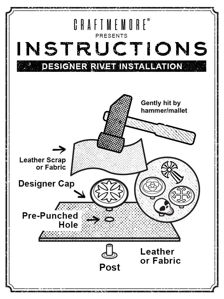CRAFTMEmore Antique Skull Ghost Rivet Stud Punk Buttons for Bracelets Bags Belts Leathercraft Pack of 10 HQR186 Silver Black Eye