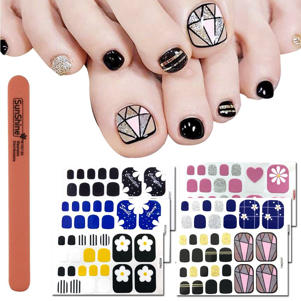 Amazon.com: WOKOTO 6 Sheets Nail Adhesive Polish Stickers For Toes And 1Pc Nail Buffer Files Kit Flower Diamond Image Design Solid Color Toe Nail Polish ...