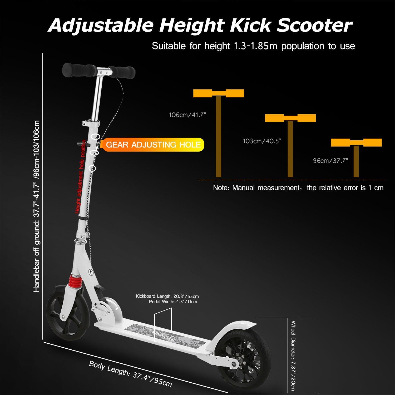 Amazon.com: Hikole - Patinete para adultos, altura ajustable ...