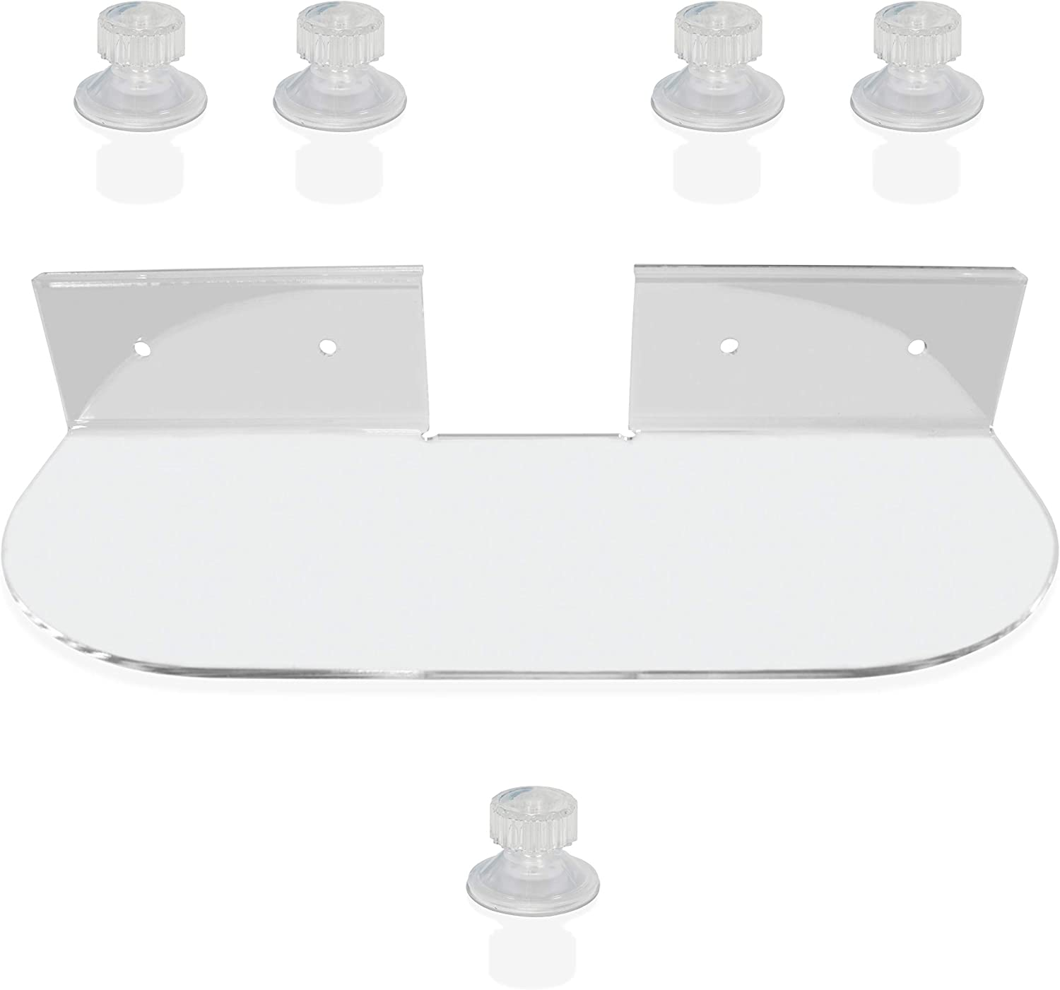 Brentmoor Acrylic Double Shelf - Clear Indoor Floating Garden Window Shelf for Microgreen Herbs Seed Starter Planter Pots - Complete with Additional Extra Strong Durable Suction Cup