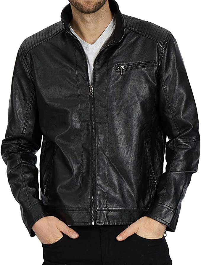 Fairylinks Leather Jacket Men Black Motocycle Lightweight Classic