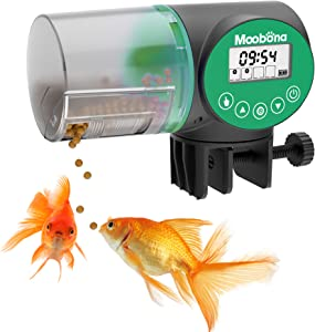 MOOBONA Automatic Fish Feeder, Moisture-Proof Electric Auto Fish Food Feeder Timer Dispenser for Small Fish Turtle Tank or Aquarium, Auto Feeding on Vacation or Holidays