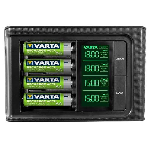 VARTA LCD SMART Charger inkl. 4x 56706 ReadytoUse AA Akkus Ladegerät für AA/AAA Micro/Mignon mit USB Anschluss Erhaltungsladung Einzelschachtladung 4 Modi: Aufladen, Entladen, Prüfen & Auffrischen - mit LCD Display  (Design kann abweichen)