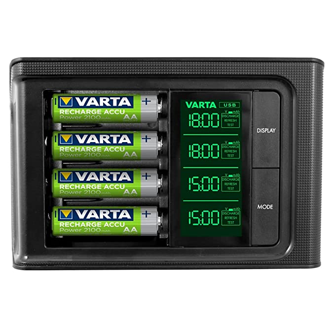 VARTA LCD Smart Charger - Cargador de Pilas NiMH AA y AAA (4x AA 2100 mAh Incluidas)