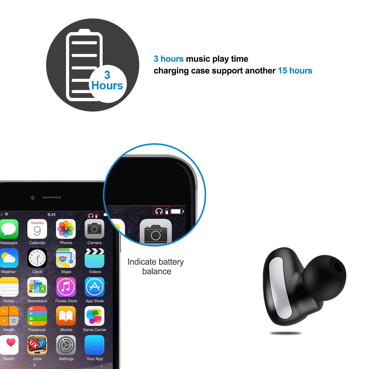 ALWUP Auriculares Bluetooth, V4.2 Verdaderos Auriculares Estereofónicos Inalámbricos, IPX5 Deportivos Inalámbricos a Prueba de Sudor, Dual Mini Auriculares ...