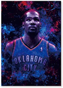 """Kevin Durant Wall Art Print Posters,Inspirational Poster with Basketball , Basketball Sports Wall Art Canvas for Basketball Fans and Kids Adults Bedroom Home Decor,Gift(Unframed,16""""X24""""inches) ."""