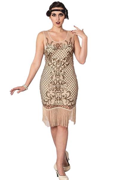 Banned Vestido Retro Vintage Gran Gatsby Estilo Flapper Girl Años 20 (Crema)
