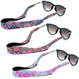 YR Floral Pattern Sunglass Straps, Soft And Durable Neoprene Material Floating Eyewear Retainers, 3 Packs.