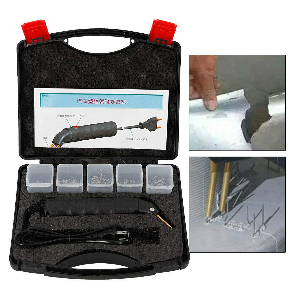Repair Machine/Tool Kit - 1 X Hot Stapler + 1 X Storage Case + 500 X Staples Hot Stapler Kit for Repairing Plastics Car Bumper Welder Gun+Case by ZHFEISY