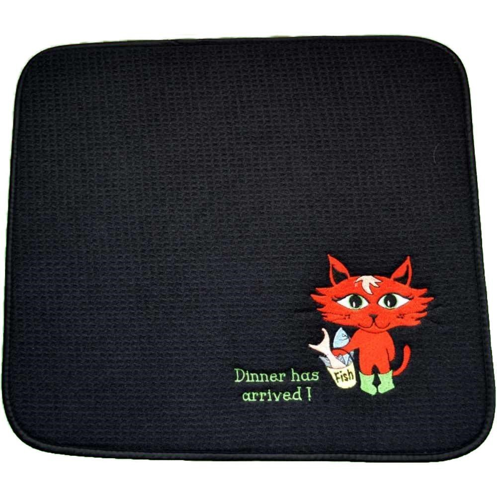 PERSONALIZED Pet Feeding Mat, Pet Placemat, Cat Litter Mat, Cat Bowl Mat, 18'' X 16'' Machine Wash/Dry, Durable (You choose cat color) EMBROIDERED