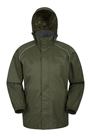 Mountain Warehouse Chaqueta impermeable para hombre Pakka - Chaqueta plegable con capucha, Abrigo para hombre de alta visibilidad, Chaqueta ligera para la ...