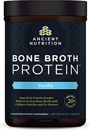 Bone Broth Protein Powder, Vanilla, Food-Sourced Hydrolyzed Collagen Supplement, Formulated by Dr. Josh Axe, Gluten Free, Made Without Dairy, Paleo Friendly, Supports Joints, Skin & Gut, 17.4 Ounces