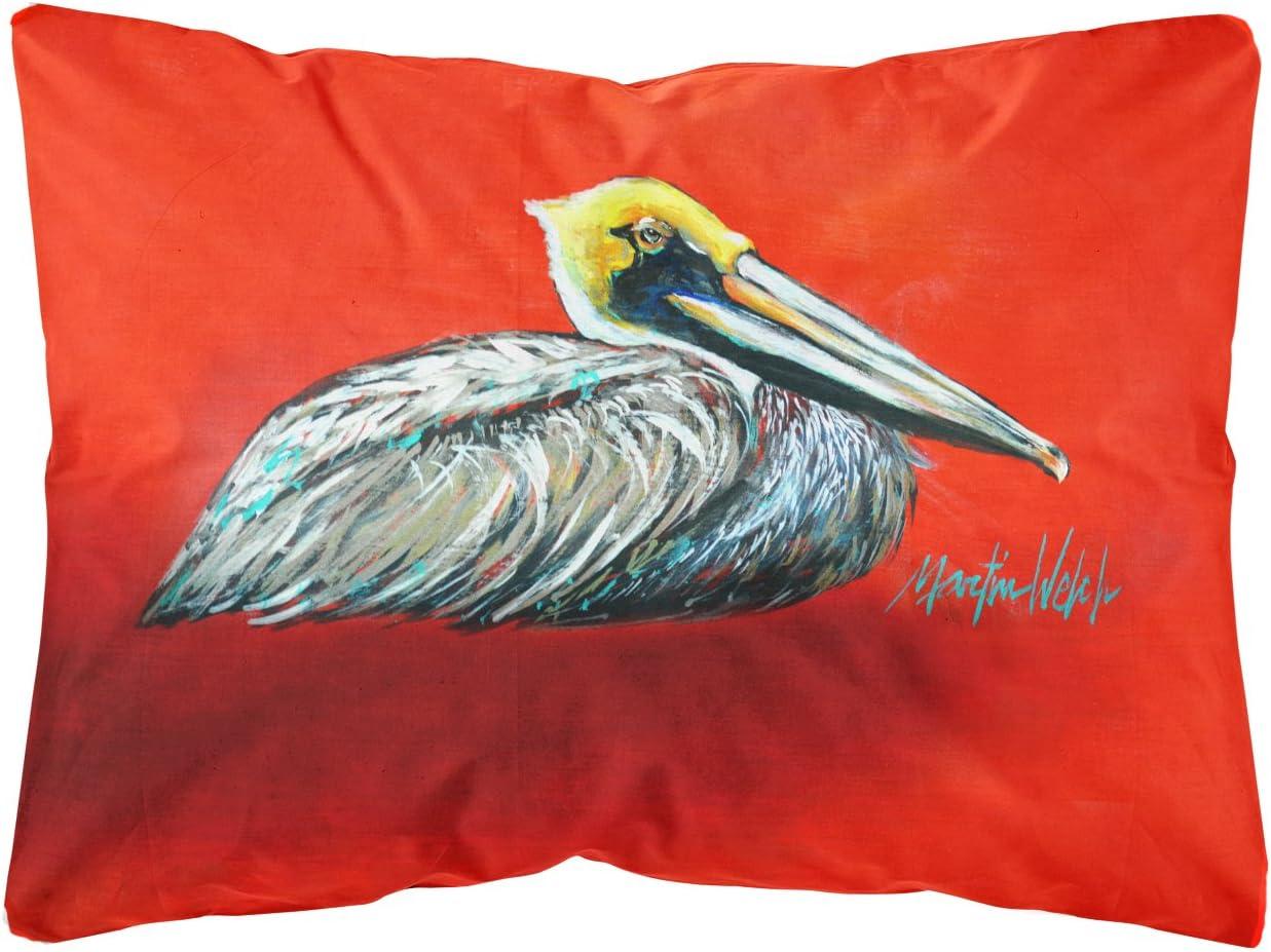 Caroline s Treasures MW1232PW1216 Sitting Brown Pelican Fabric Decorative Pillow, 12H x16W, Multicolor