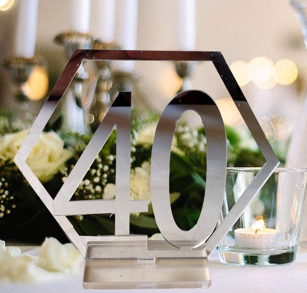 Fashionclubs Table Numbers, 1-40 Wedding Acrylic Table Numbers with Holder Base Party Card Table Holder,Hexagon Shape,Perfect for Wedding Reception and Decoration,Silver