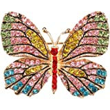 Badalink Exquisite 3D Hollow Butterfly Crystal Diamond Rhinestone Gold Plated Decoration Fashion Brooch Pin Jewelry for Women - Style 3
