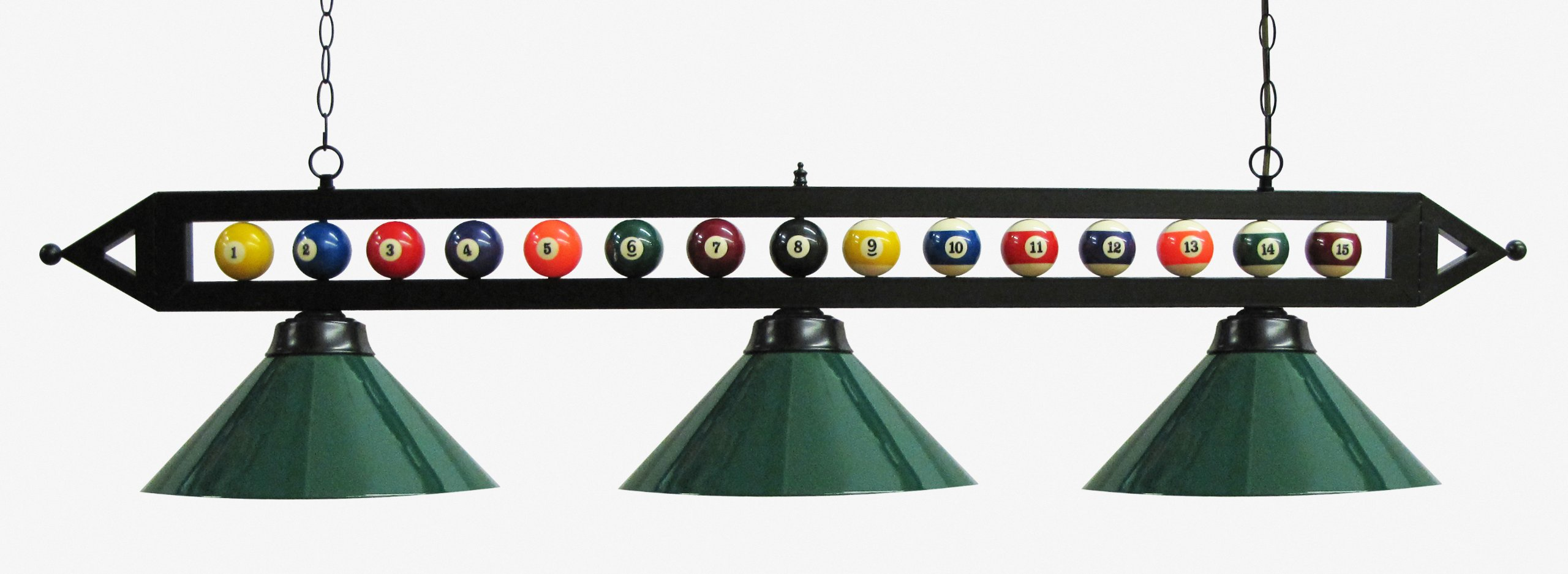 59'' Black Metal Ball Design Pool Table Light Billiard Lamp W Green Metal Shades