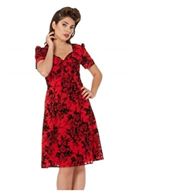 Voodoo Vixen Brittany Red And Black Rose Dress Xl Amazon