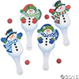 12 Snowman Paddle Ball Games - Snowman Paddleball Games - Christmas Stocking Stuffers
