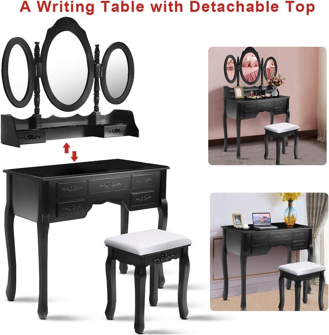 Giantex Tri Folding Oval Mirror Wood Bathroom Vanity Makeup Table Set with Stool 7 Drawers Black