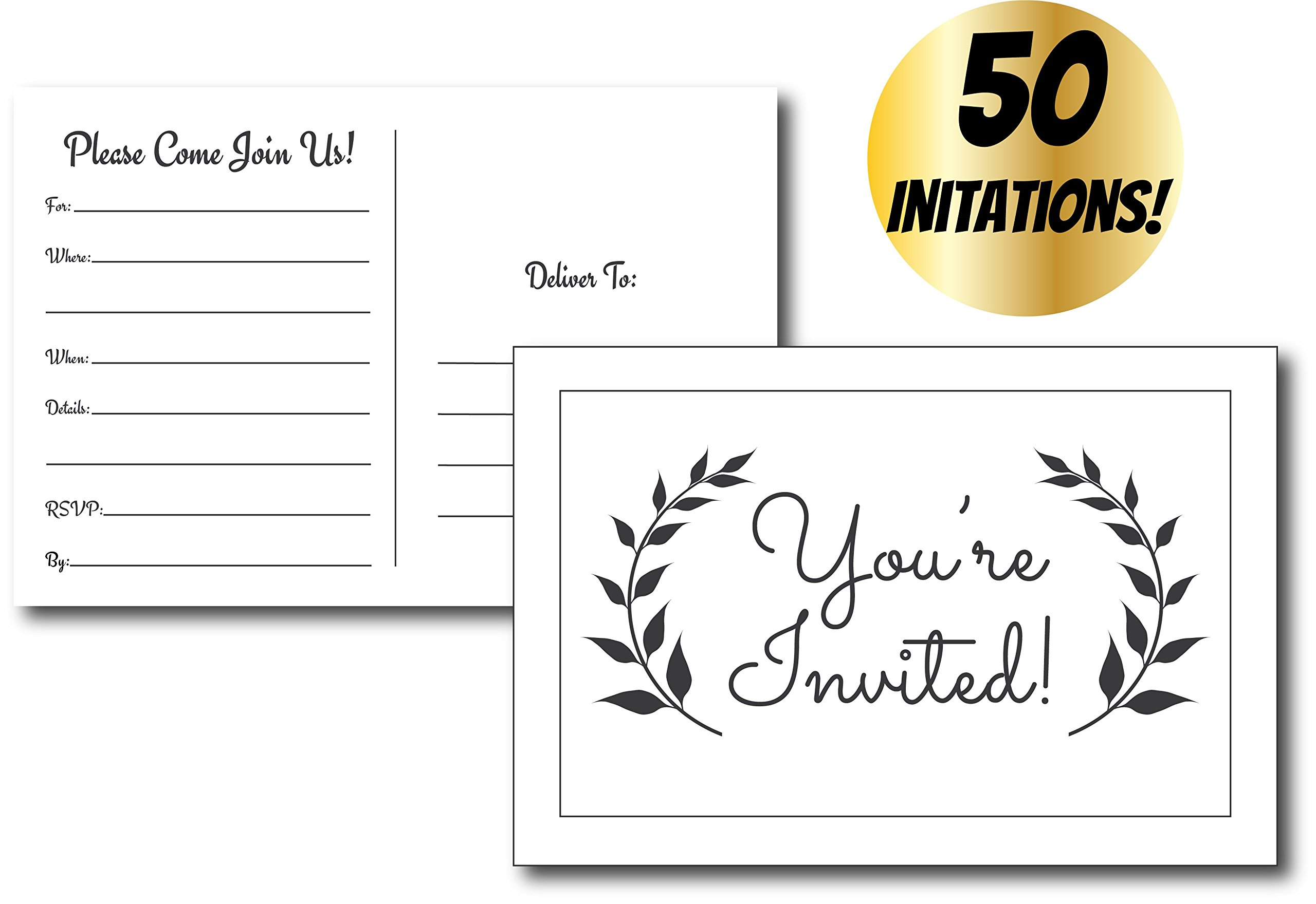 50 Simple & Modern Fill in Party Invitations for Any Occasion, Birthday Party Invitations, Baby Shower, Bridal Party, Retirement Party, Party Invitations for Girls, Boys, Men, Women, Graduation Party