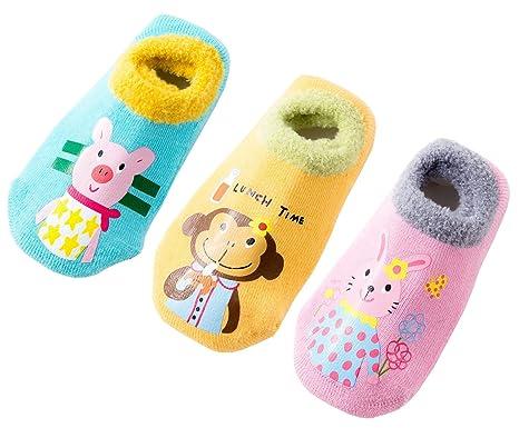 0216e7562a9a Amazon.com  Toddler Kids Cute Thick Warm Non-Slip Cozy Socks Winter ...